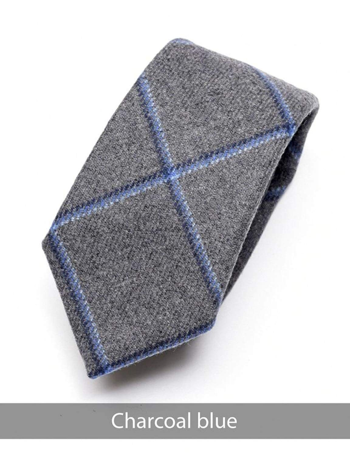 Heirloom Charcoal Mens Blue Checked Tie - Accessories