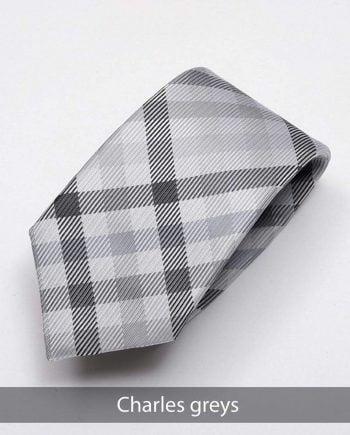 Heirloom Charles Mens Greys Check Tie - Accessories