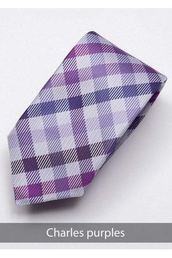 Heirloom Charles Mens Purples Check Tie - Accessories