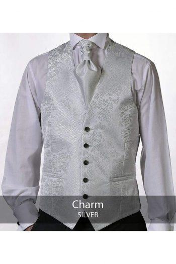 Heirloom Charm Silver Luxury 100% Wool Tweed Waistcoat - 34R - WAISTCOATS