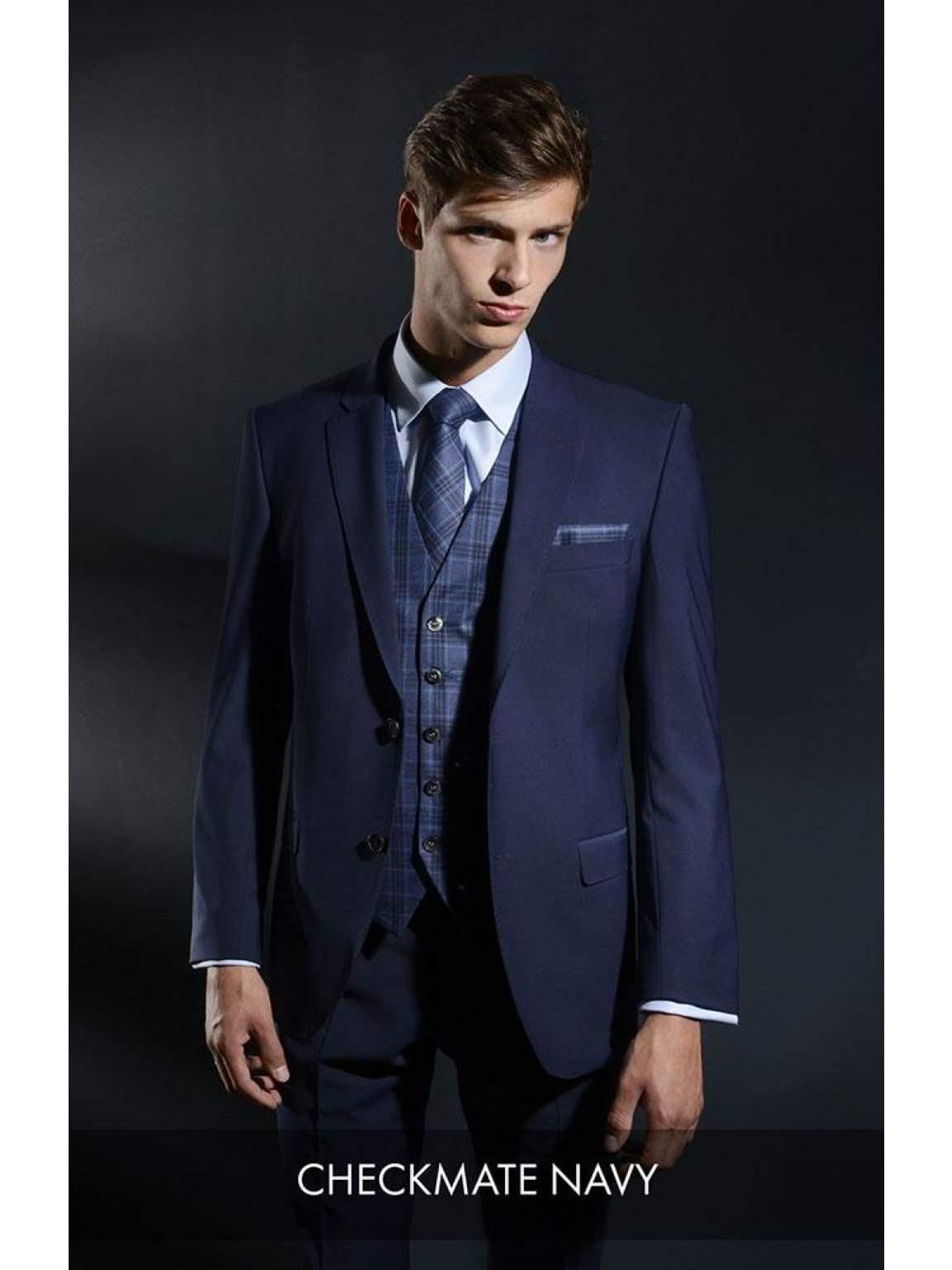 Heirloom Checkmate Mens Navy Luxury Waistcoat - 34R - WAISTCOATS