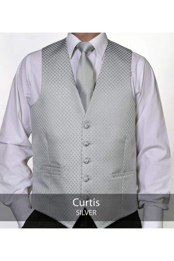 Heirloom Curtis Mens Silver Luxury 100% Wool Tweed Waistcoat - 34R - WAISTCOATS