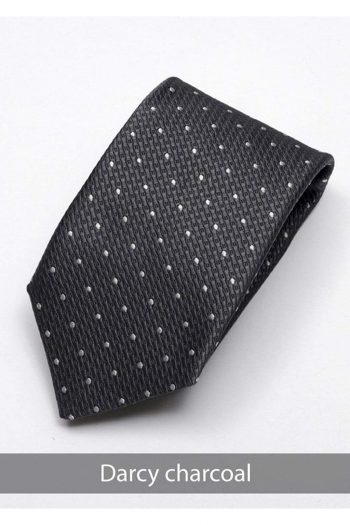 Heirloom Darcy Mens Charcoal Dotted Tie - Accessories