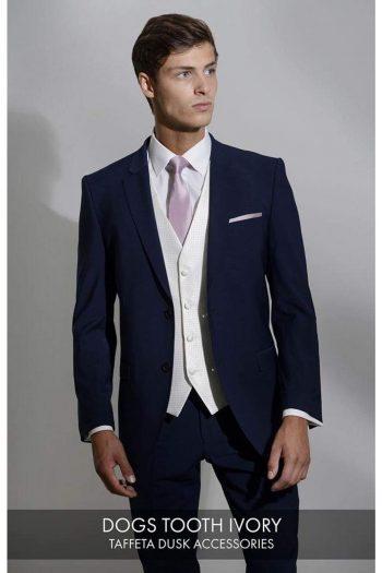 Heirloom Dogs Tooth Mens Ivory Luxury 100% Wool Tweed Waistcoat - WAISTCOATS