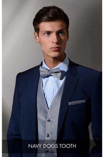 Heirloom Dogs Tooth Mens Navy Luxury 100% Wool Tweed Waistcoat - 34R - WAISTCOATS