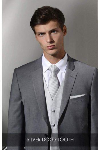 Heirloom Dogs Tooth Mens Silver Luxury 100% Wool Tweed Waistcoat - 34R - WAISTCOATS