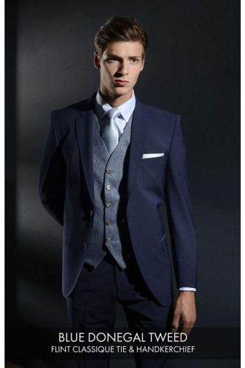 Heirloom Donegal Mens Blue Luxury 100% Wool Tweed Waistcoat - 34R - WAISTCOATS