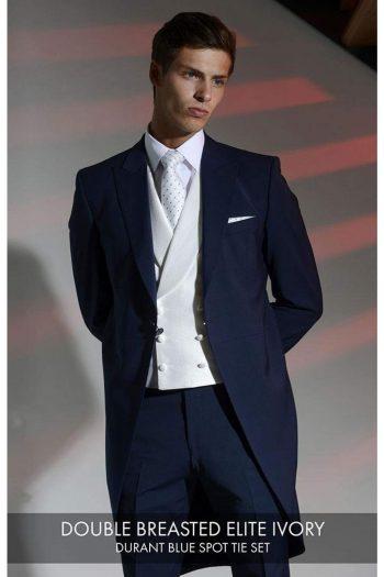 Heirloom Elite Mens Silver Double Breasted Luxury 100% Wool Tweed Waistcoat - 34R - WAISTCOATS
