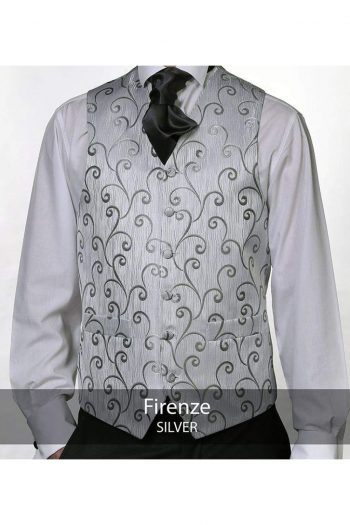 Heirloom Firenze Mens Silver Luxury 100% Wool Tweed Waistcoat - WAISTCOATS