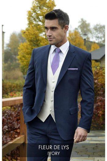 Heirloom Fleur De Lys Mens Ivory Luxury 100% Wool Tweed Waistcoat - 34R - WAISTCOATS