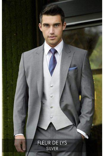 Heirloom Fleur De Lys Mens Silver Luxury 100% Pure Wool Waistcoat - 34R - WAISTCOATS
