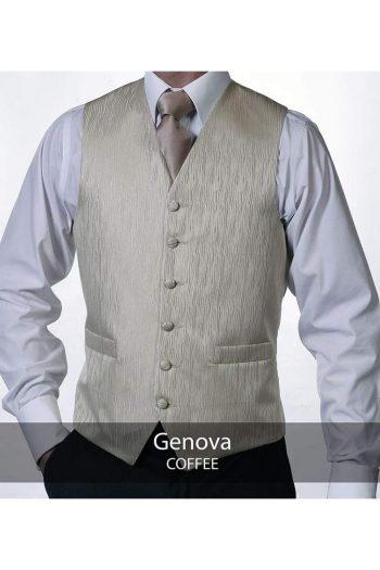 Heirloom Genova Mens Coffee Luxury 100% Wool Tweed Waistcoat - 34R - WAISTCOATS