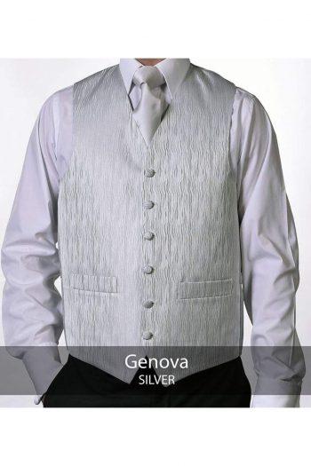 Heirloom Genova Mens Silver Luxury Waistcoat - 34R - WAISTCOATS