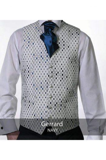 Heirloom Gerrard Mens Navy Luxury 100% Wool Tweed Waistcoat - 34R - WAISTCOATS