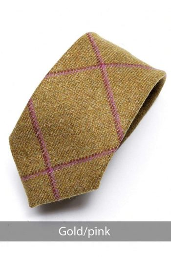 Heirloom Gold Mens Pink Checked Tie - Accessories