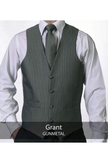 Heirloom Grant Mens Gunmetal Luxury 100% Wool Tweed Waistcoat - WAISTCOATS