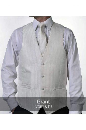 Heirloom Grant Mens Ivory Luxury 100% Wool Tweed Waistcoat - 34R - WAISTCOATS