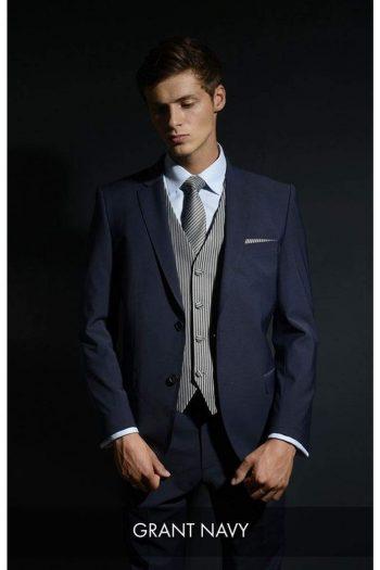 Heirloom Grant Mens Navy Luxury 100% Wool Tweed Waistcoat - 34R - WAISTCOATS