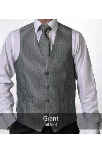 Heirloom Grant Mens Silver Luxury 100% Wool Tweed Waistcoat - 34R - WAISTCOATS