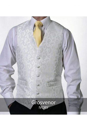 Heirloom Grosvenor Mens Ivory Luxury 100% Wool Tweed Waistcoat - 34R - WAISTCOATS