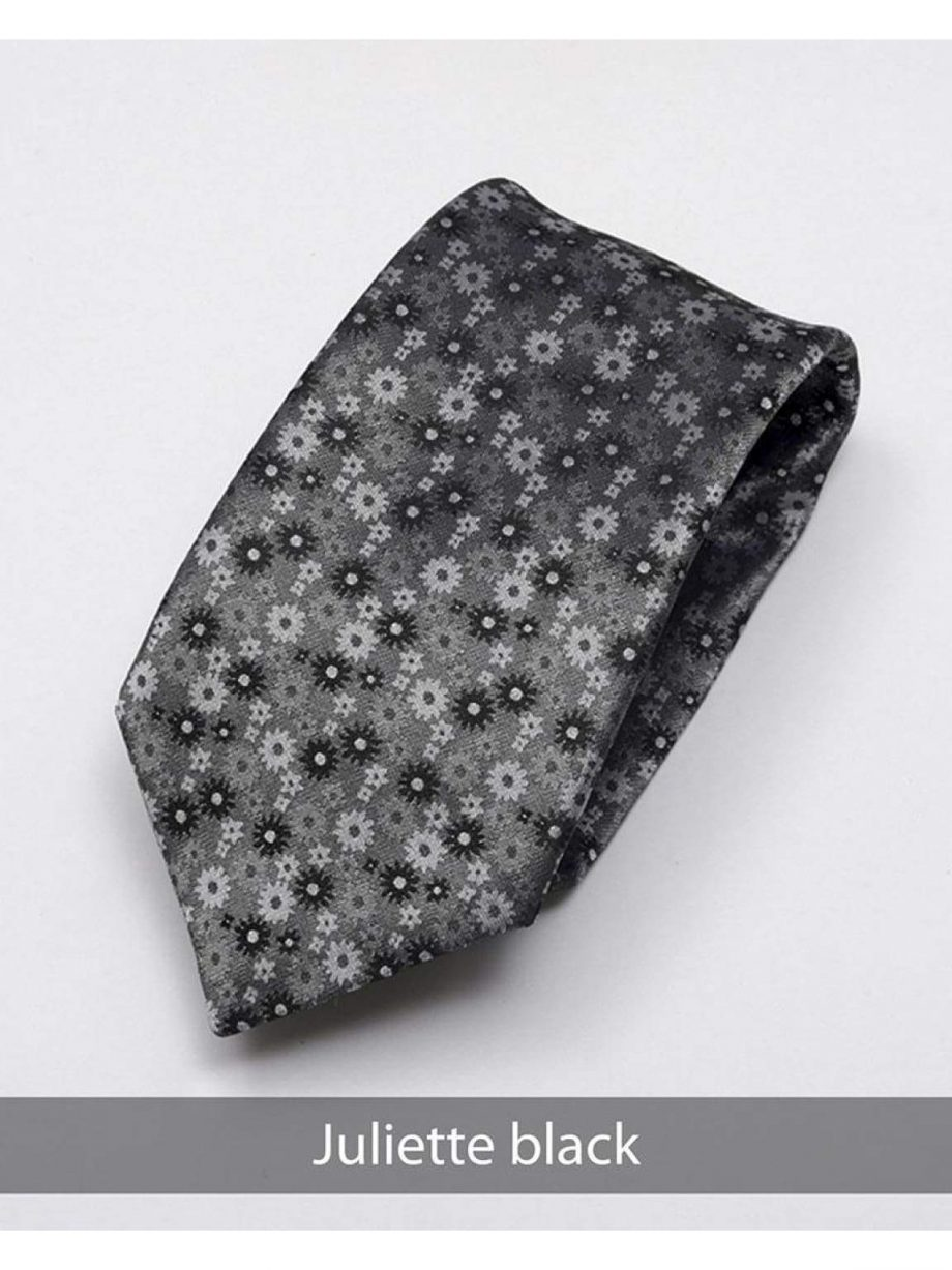 Heirloom Juliette Mens Black Floral Tie - Accessories