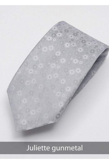 Heirloom Juliette Mens Gunmetal Floral Tie - Accessories