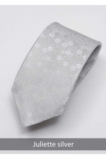 Heirloom Juliette Mens Silver Floral Tie - Accessories