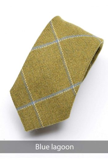 Heirloom Lagoon Mens Blue Check Tie - Accessories