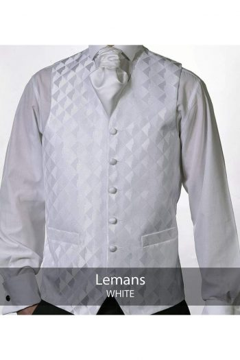 Heirloom Lemans Mens White Luxury 100% Wool Tweed Waistcoat - WAISTCOATS