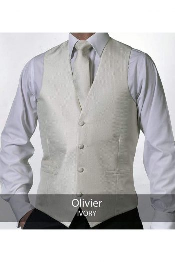 Heirloom Olivier Mens Ivory Luxury 100% Wool Tweed Waistcoat - 34R - WAISTCOATS