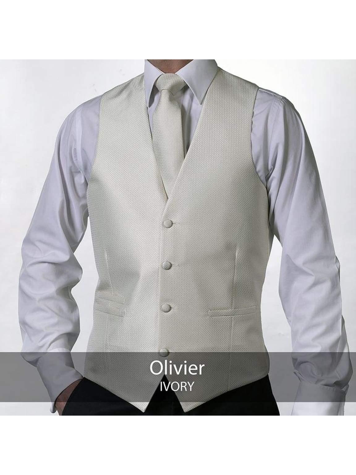 Heirloom Olivier Mens Ivory Luxury 100% Wool Tweed Waistcoat - 34R - WAISTCOATS