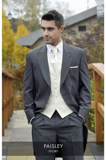 Heirloom Paisley Mens Ivory Luxury 100% Wool Tweed Waistcoat - 34R - WAISTCOATS