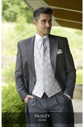 Heirloom Paisley Mens Silver Luxury 100% Wool Tweed Waistcoat - 34R - WAISTCOATS