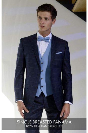 Heirloom Panama Mens Sky Single Breasted Luxury 100% Wool Tweed Waistcoat - 34R - WAISTCOATS