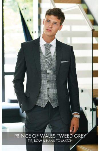 Heirloom Prince Of Wales Mens Grey 100% Wool Tweed Waistcoat - 34R - WAISTCOATS