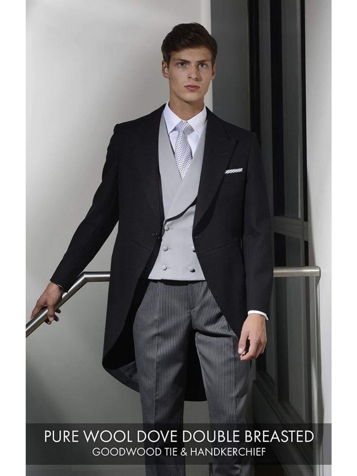 Heirloom Pure Wool Dove Double Breasted Luxury 100% Wool Tweed Waistcoat - 34R - WAISTCOATS