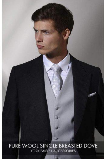 Heirloom Pure Wool Dove Single Breasted Luxury 100% Wool Tweed Waistcoat - 34R - WAISTCOATS