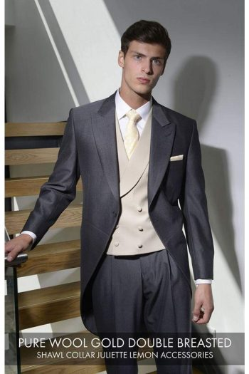Heirloom Pure Wool Mens Gold Double Breasted Luxury 100% Wool Tweed Waistcoat - 34R - WAISTCOATS