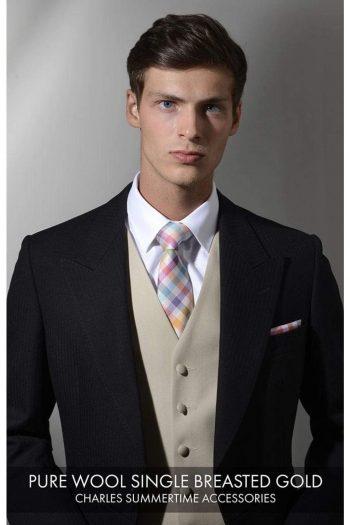 Heirloom Pure Wool Mens Gold Single Breasted Luxury 100% Wool Tweed Waistcoat - 34R - WAISTCOATS