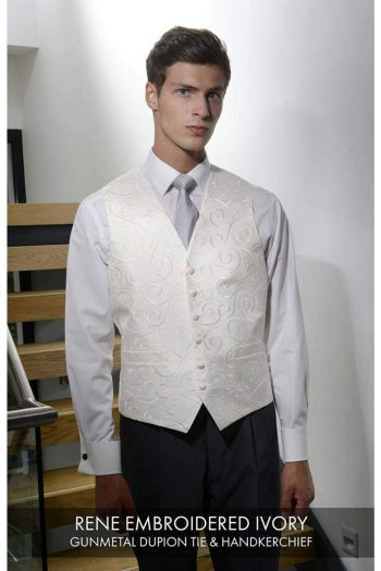 Heirloom Rene Mens Embroiered Ivory Luxury 100% Wool Tweed Waistcoat - 34R - WAISTCOATS