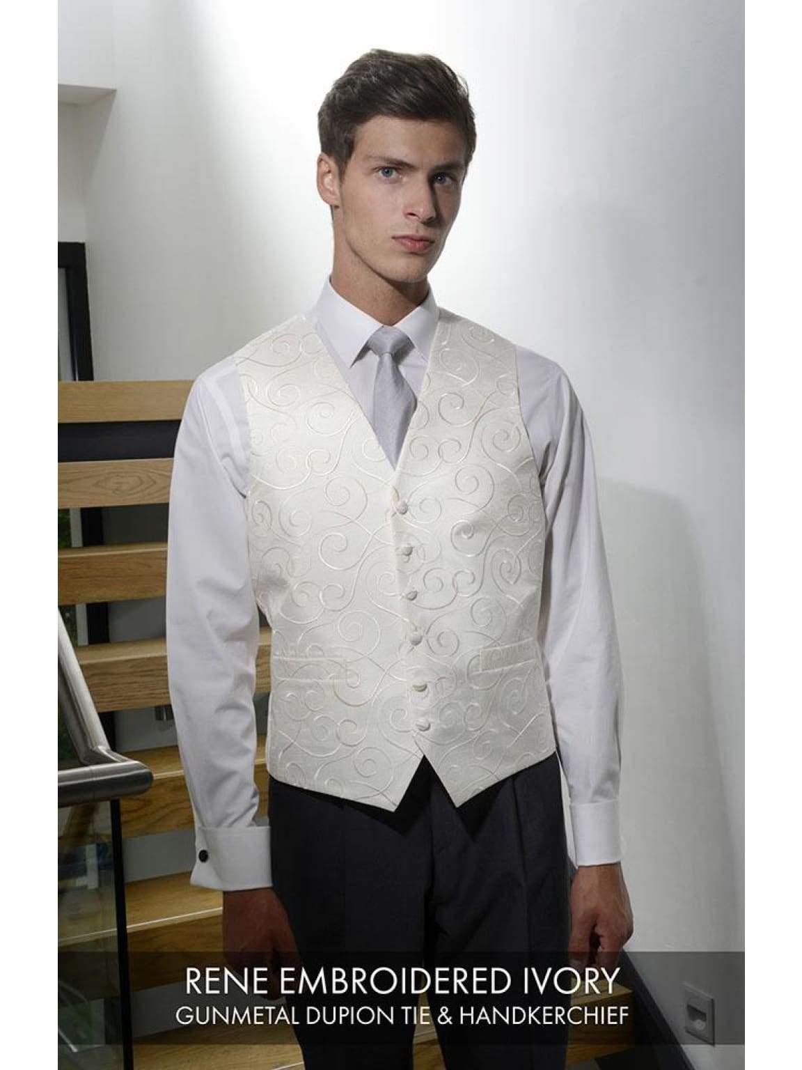 Heirloom Rene Mens Embroiered Ivory Luxury 100% Wool Tweed Waistcoat - 34R - WAISTCOATS