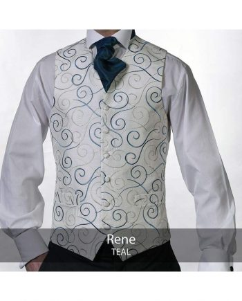 Heirloom Rene Mens Teal Luxury 100% Wool Tweed Waistcoat - 34R - WAISTCOATS