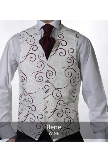 Heirloom Rene Mens Wine Luxury 100% Wool Tweed Waistcoat - 34R - WAISTCOATS