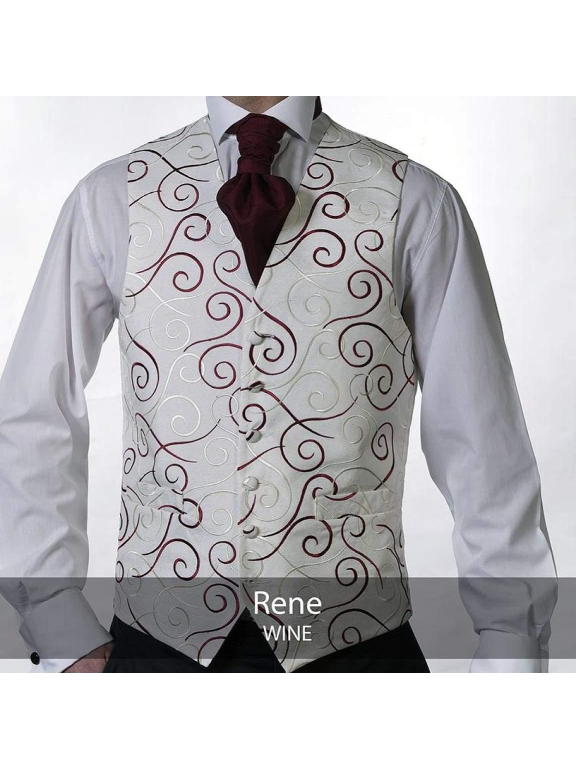 Heirloom Rene Mens Wine Luxury 100% Wool Tweed Waistcoat - 34R - WAISTCOATS