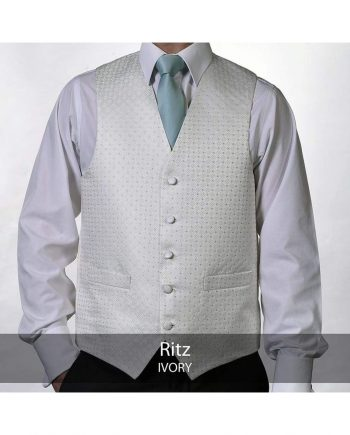 Heirloom Ritz Mens Ivory Luxury 100% Wool Tweed Waistcoat - 34R - WAISTCOATS