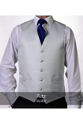 Heirloom Ritz Mens Silver Luxury 100% Wool Tweed Waistcoat - 34R - WAISTCOATS