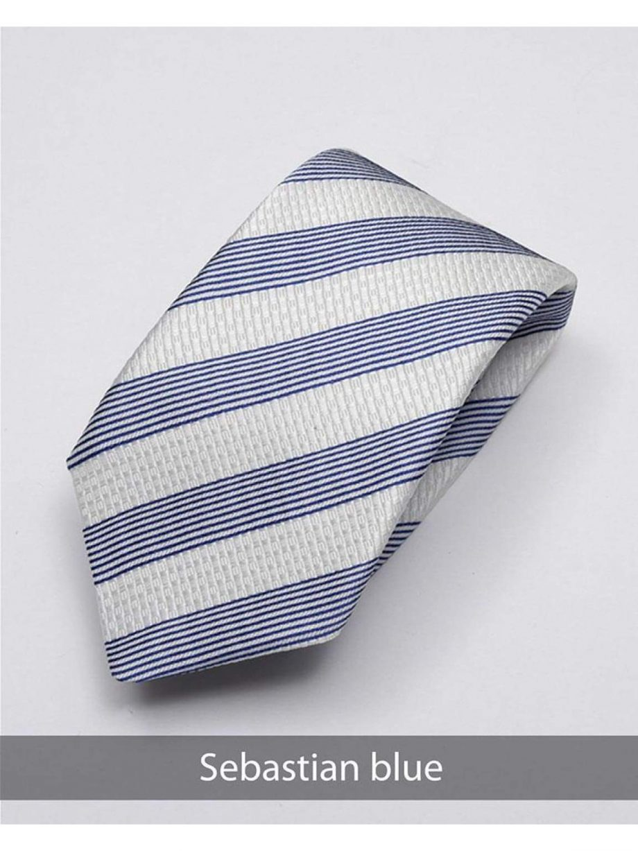 Heirloom salvadore Mens Blue Stripped Tie - Accessories