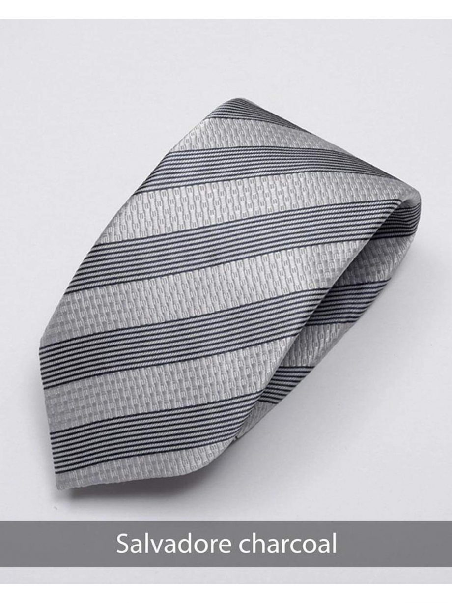 Heirloom salvadore Mens Charcoal Stripped Tie - Accessories