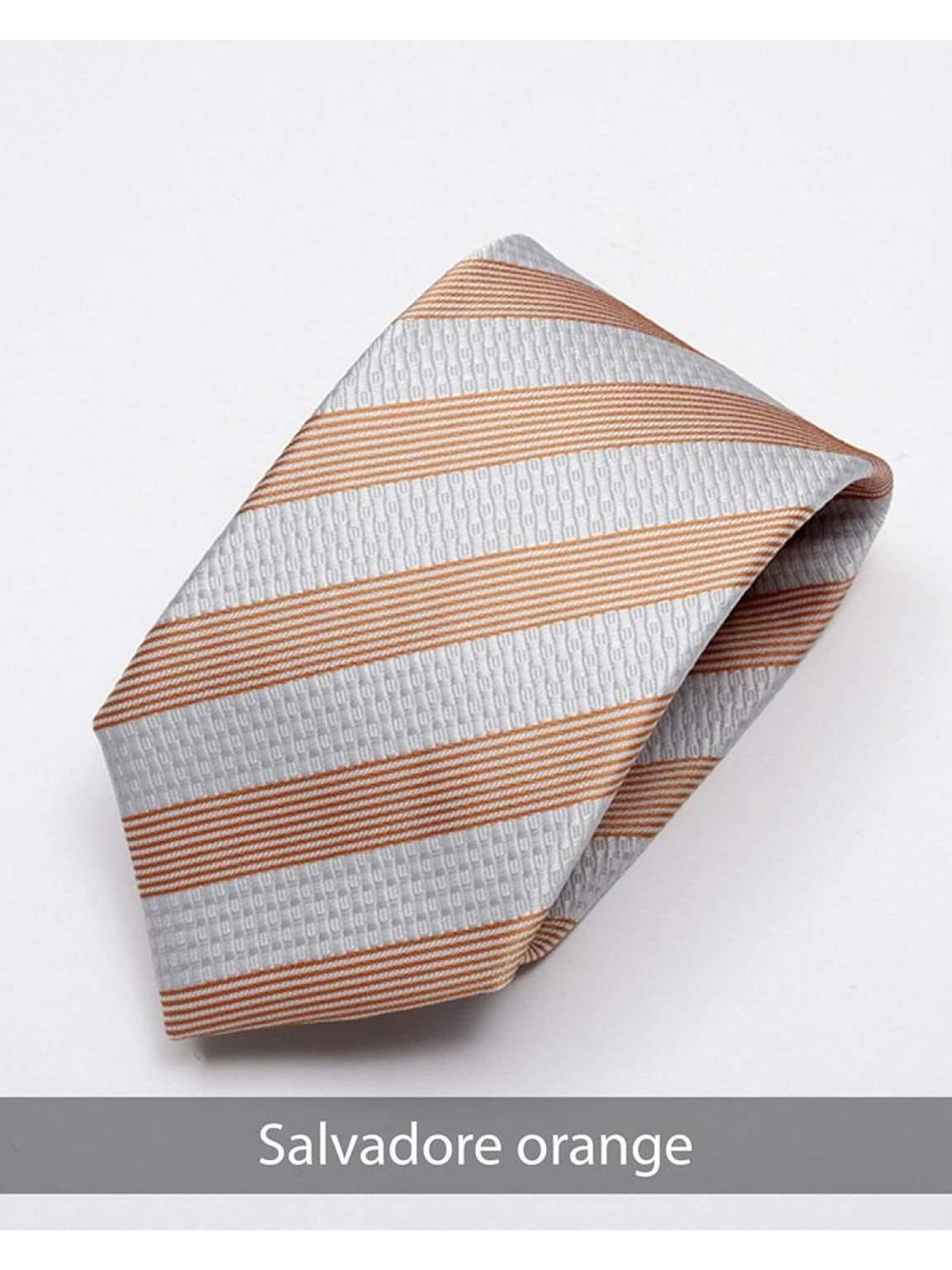 Heirloom salvadore Mens Orange Stripped Tie - Accessories