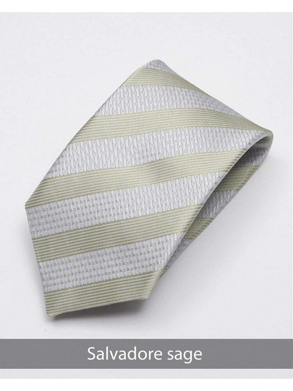 Heirloom salvadore Mens Sage Stripped Tie - Accessories